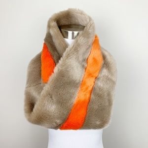ANTHROPOLOGIE Hayden Stripe Faux Fur Cowl Scarf